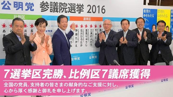 7選挙区完勝、比例区7議席獲得