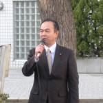 平井駅にて挨拶中