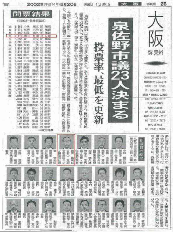 平成14年初当選!