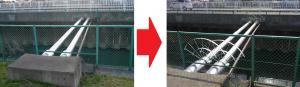 備後西5丁目地内の、会之堀川にかかっているパイプのフェンスが低い事から、伝って渡る方がおられるとの危険情報が入ったことから、安全対策を県へ要請しました。