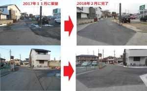 一ノ割マルエツ店様 裏通りに於いて砂利とアスファルトが混在している道路にて道がガタガタして危険との事でしたが、地権者及び、市担当課へ交渉し整備が実現になりました。(要望時2017/11・完了2018/2)