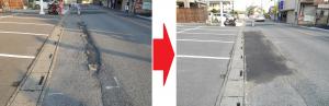 大池通り ドラゴンラーメン店前の歩道整備(2014/7/24)
