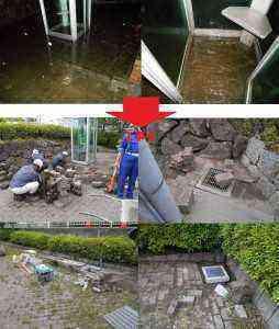 一ノ割公園内の電話BOXに水が溜まって、水がはけない。という事で、軽減対策を推進。