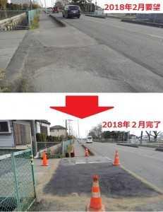 谷原新田地内に於いて、路面の水はけが悪いという事で改善要求。(要望2018年2月・完了2018年2月)