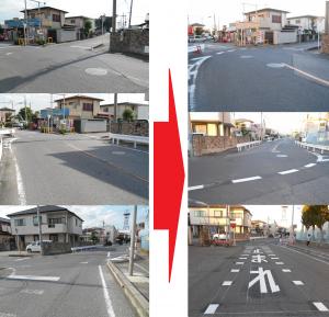 大池通り武里小学校付近のY字路の優先が分からないということで、道路線の補修を推進(要望2015/7・完了2016/1)