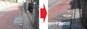 武里小学校近隣の消火栓の蓋に車輪が乗ると、ガタガタしていた為、新しい物へ交換の推進。(要望2015/2・完了2015/4)
