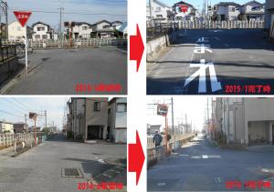 南3丁目地内の線路 T字路の停止線等の補修。(要望時2014/7・完了時2016/1)