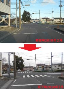 横断歩道の修繕を依頼しました。今回は、タイミングが良く直ぐに補修されました。(要望時2018年2月・完了時2018年3月)
