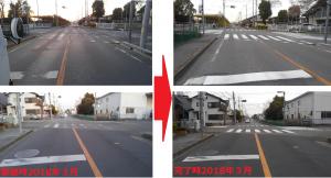 市立武道館前 横断歩道の修繕を依頼しました。今回は、タイミングが良く直ぐに補修されました。(要望時2018年3月・完了時2018年3月)