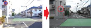 一ノ割4丁目地内 市道1-17号線を交番方向からくる車両が見えないとの事で設置推進(2014/7)