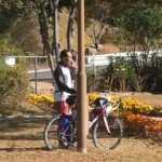 サービスエリア内に自転車?