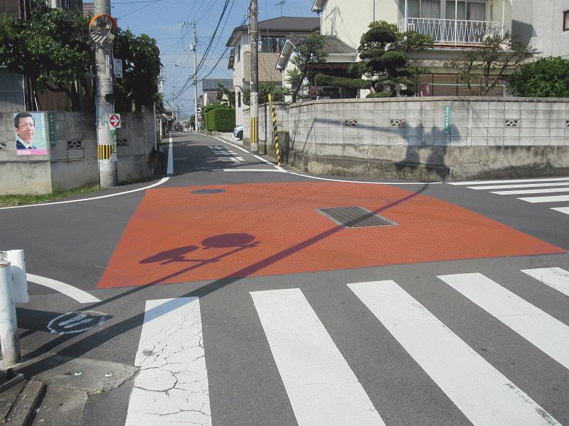 【石井454号線】【石井3号線】交差点カラー塗装