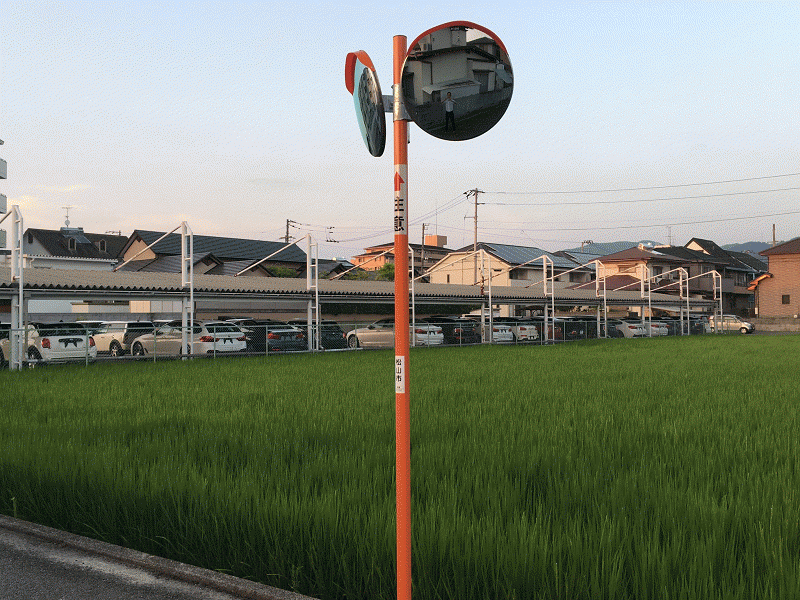 福田建設前T字路カーブミラー