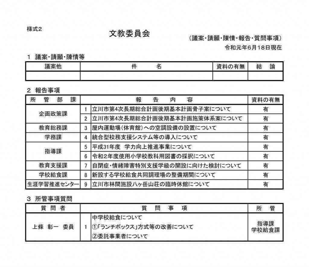 【差替後】文教 審査・報告一覧(様式2)