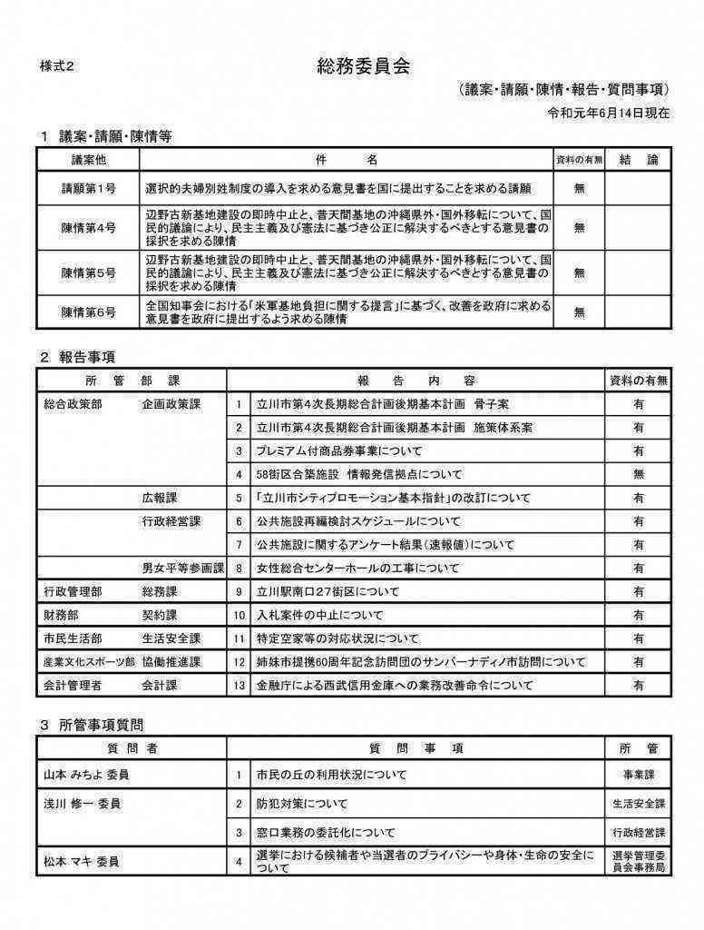 【差替後】総務 審査・報告事項一覧(様式2)