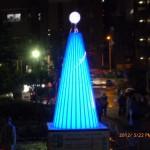 イルミネーションタワー ブルー点灯