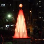 イルミネーションタワー レッド点灯