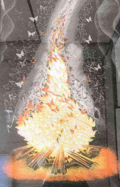 3.11東北震災後に製作した砂絵「浄火」