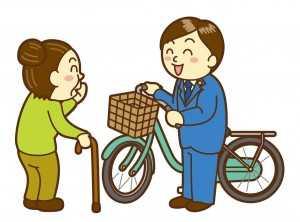 自転車で市民の声を聴く男性議員
