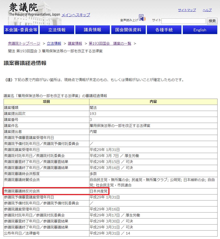 【衆議院】議案審議経過情報