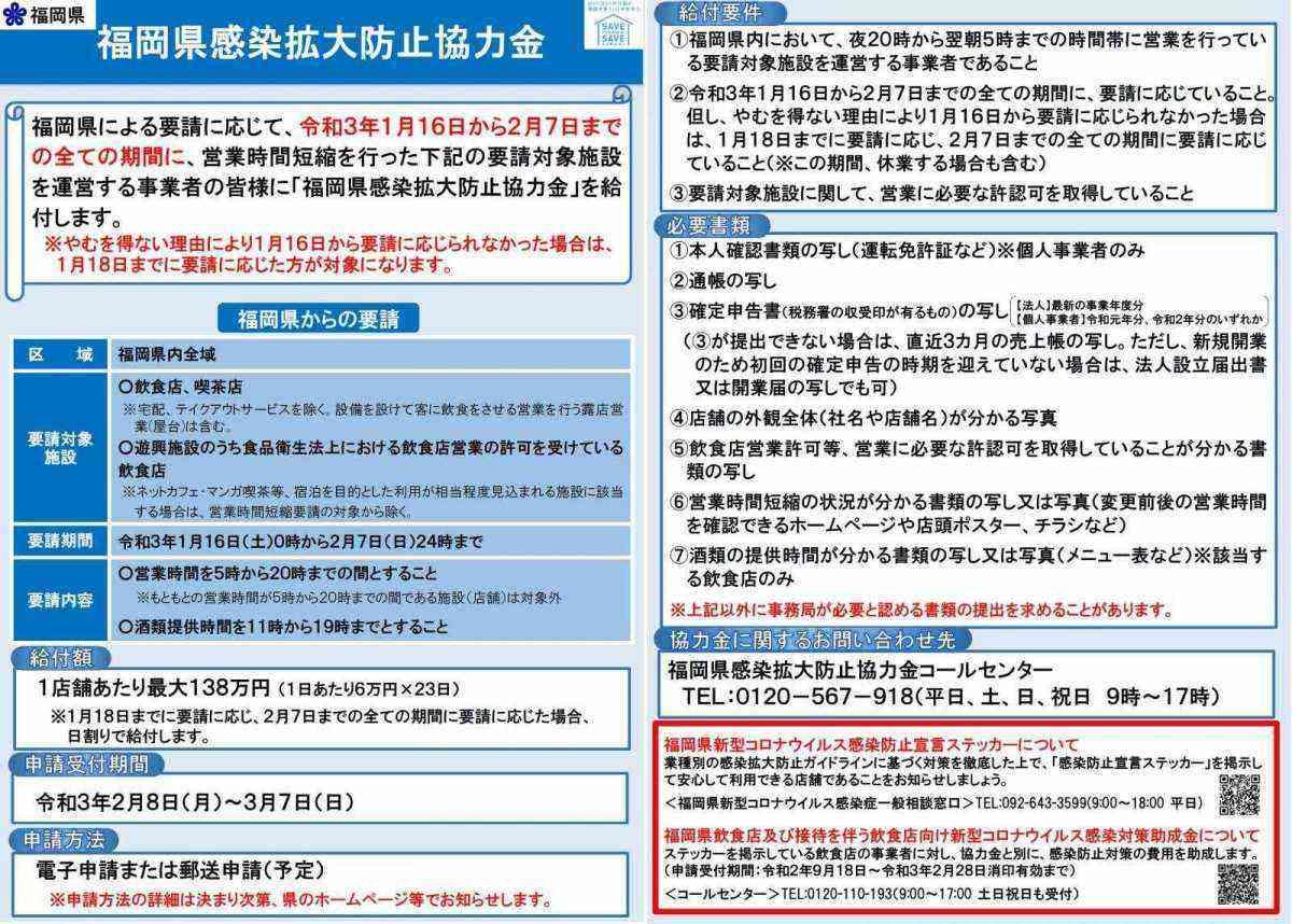 県 防止 福岡 感染 金 拡大 協力