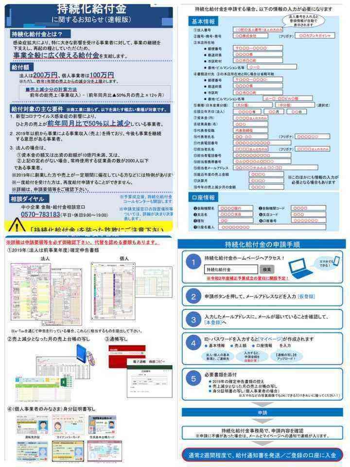 持続 化 給付 金 申請 書類