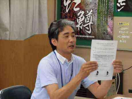 説明する県水産技術センターの岡崎支所長