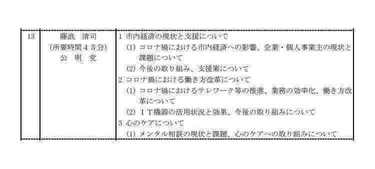 9月定例議会一般質問通告n