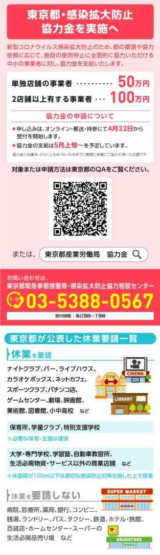 感染拡大防止協力金☆