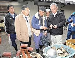 朴島で漁業関係者から養殖カキの被害状況を聞く井上幹事長(右)ら=23日