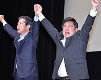 斉藤やすひろ都議の勝利を訴える山口代表=21日 東京・目黒区