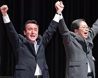 伊藤こういち都議への支援を呼び掛ける斉藤幹事長代行=同 品川区