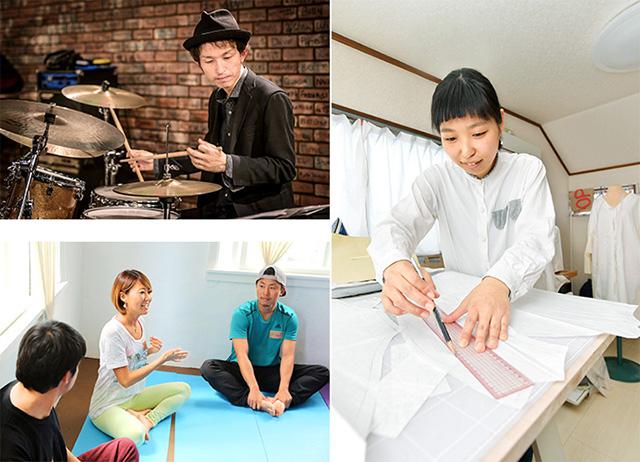 フリーランスで活躍する(右から時計回りに)服飾デザイナーの室田純子さん、ヨガインストラクターの徳永有華さん、ジャズドラマーの森永哲則さん
