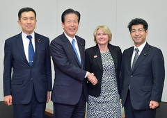 Komeito members met with UNMAS Director Agnès Marcaillou in Tokyo on Nov. 8