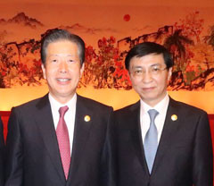 Politburo Standing Committee member Wang Hunin and Yamaguchi met in Beijing on Dec. 1-2