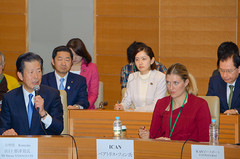 Yamaguchi and ICAN Executive Director Beatrice Fihn attended a symposium in Tokyo on Jan. 16