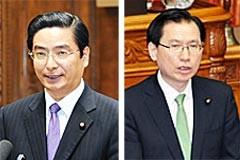 反対討論を行う浜田氏(参院本会議)と、山本(博)氏(参院予算委)