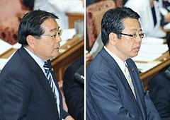 消費増税法案の問題点などをただす大口、石田氏=5日 衆院第1委員室