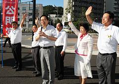 平和構築への決意を語る斉藤氏ら=16日 広島市