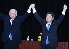 時局講演会で北がわ副代表への支援を訴える井上幹事長=4日 堺市