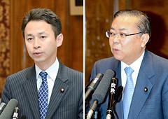 討論に立つ谷合氏と、質問する横山氏=26日 参院予算委