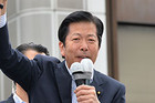 「生活者の目線で政策実現する公明党勝利を!」と訴える山口代表(目黒区)