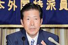 日本外国特派員協会で講演する山口代表=25日 東京・千代田区