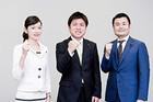決意も新たに出発した党学生局の中野局長と河野、佐々木の両局次長
