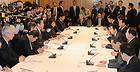 当面する政治課題について協議した政府・与党連絡会議=3日 首相官邸