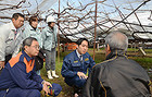 ビニールハウスの被害状況についてブドウ農家の中村さんから話を聞く平木氏ら=19日 山梨・笛吹市