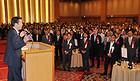党福岡県本部の政経セミナーであいさつする山口代表=22日 福岡市
