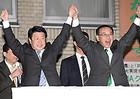 いなつ氏への支援を呼び掛ける自民党の谷垣幹事長=30日 北海道岩見沢市