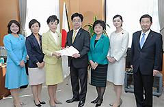 加藤担当相に申し入れる古屋副代表、山本女性局長ら=19日 内閣府