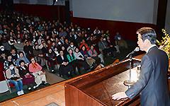 総支部大会であいさつする山口代表=29日 東京・豊島区